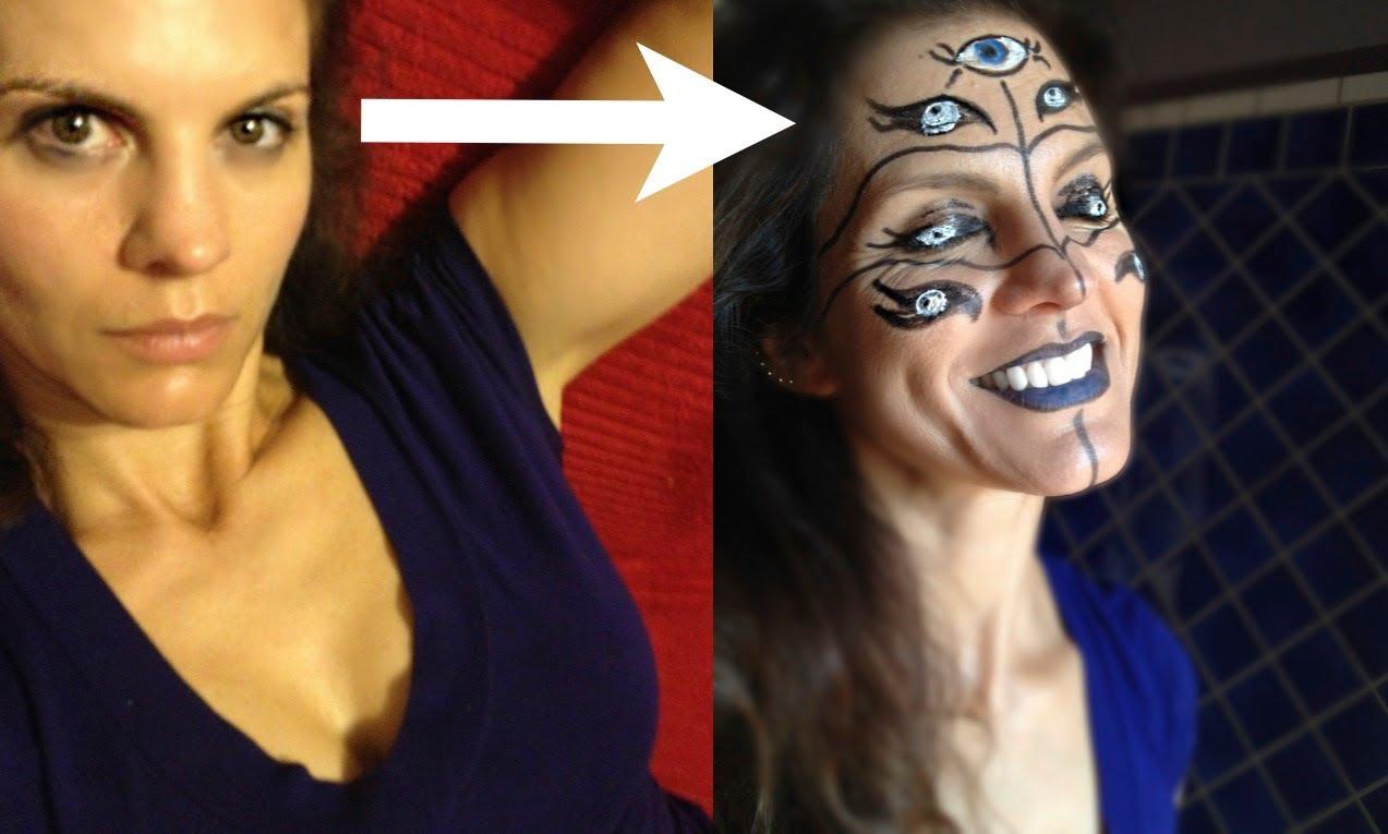 Crazy Halloween makeup idea: Easy many-eyed Cyclops face paint design