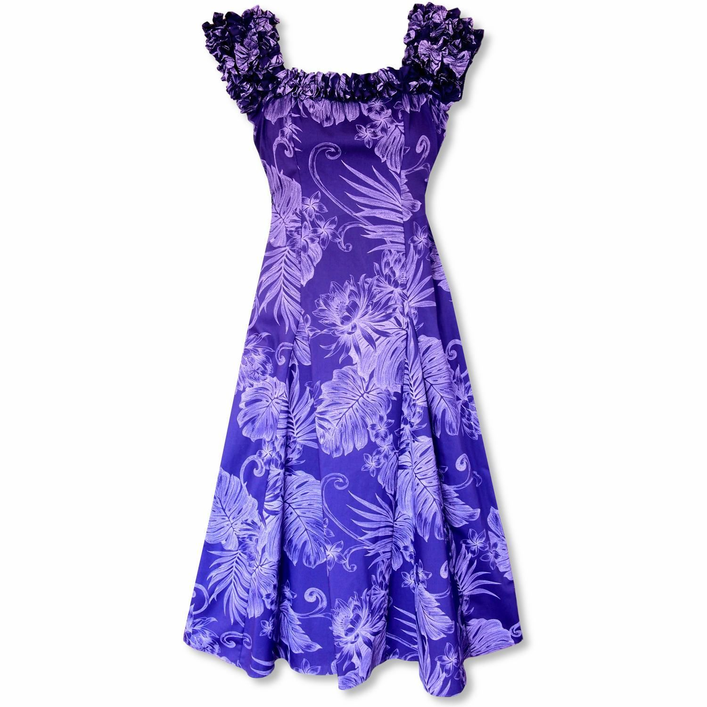 Monstera cereus purple hawaiian leilani dress