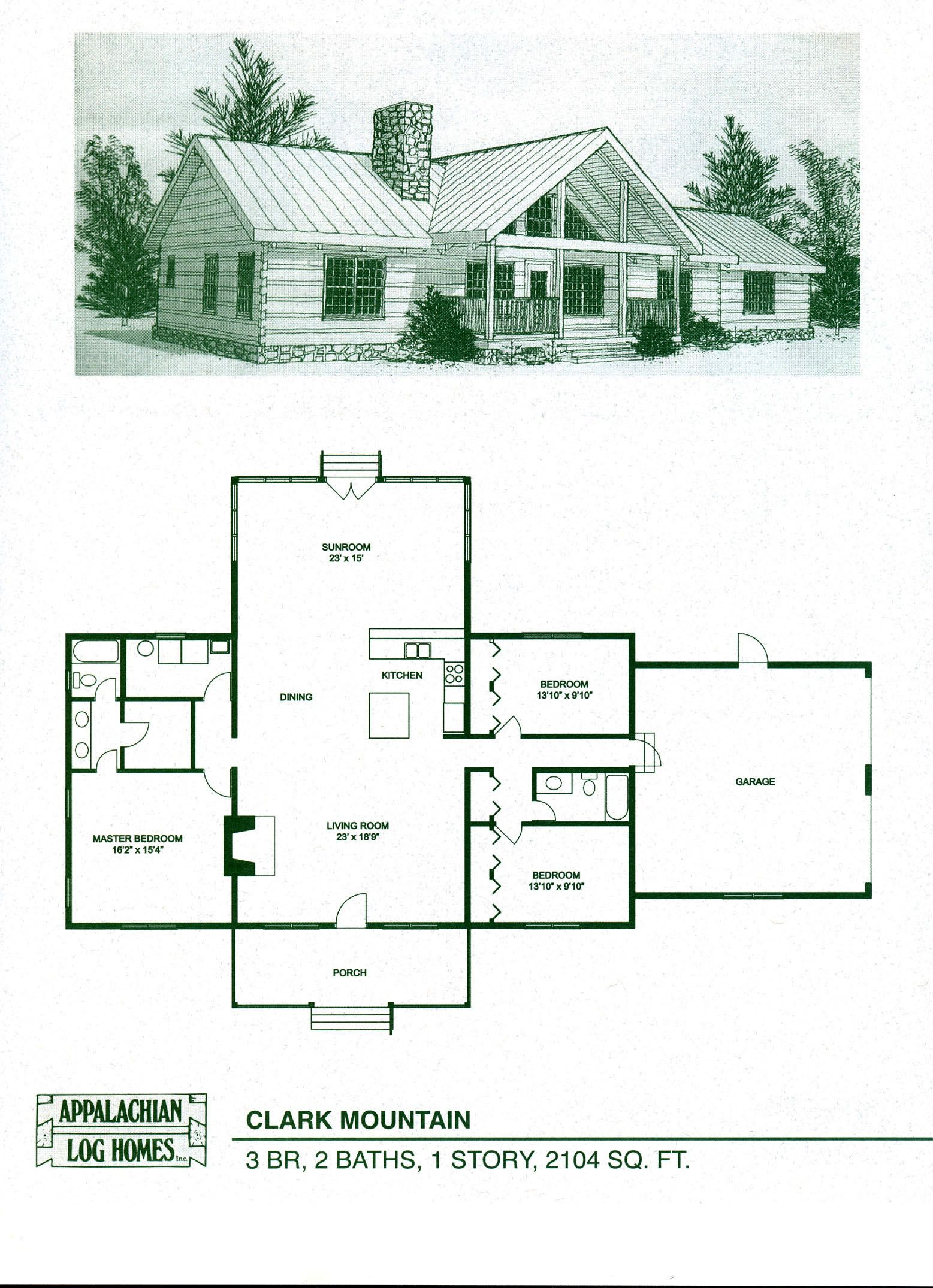 Log Home Package Kits - Log Cabin Kits - Clark Mountain Model ...