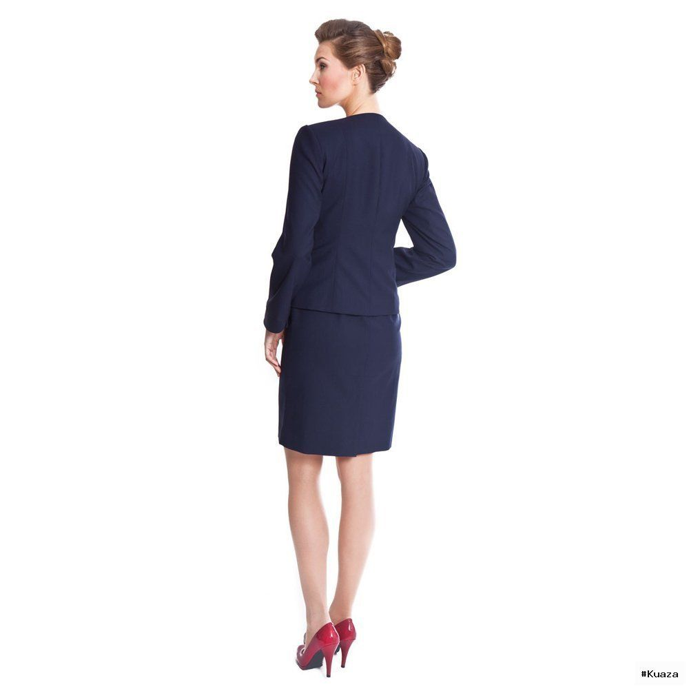 Navy Blue Skirt Suit, Womens Suits At Pinstripe & Pearls – NOOSHIN ...