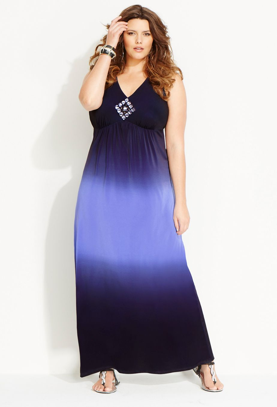 avenue plus size jeweled ombre maxi dress | ombre maxi dress