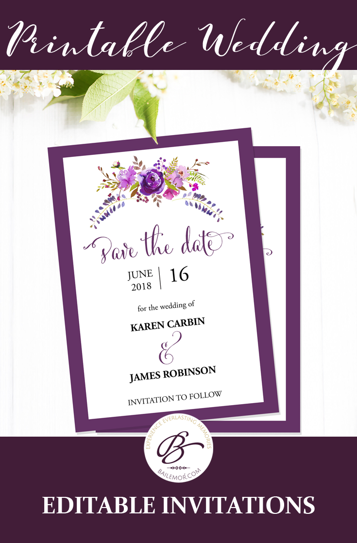 Save The Date Template Purple Save The Date Printable Cards Instant Download Editable Pdf Wedding Template Mcs 01 Wedding Invitation Templates Purple Wedding Invitations Invitations