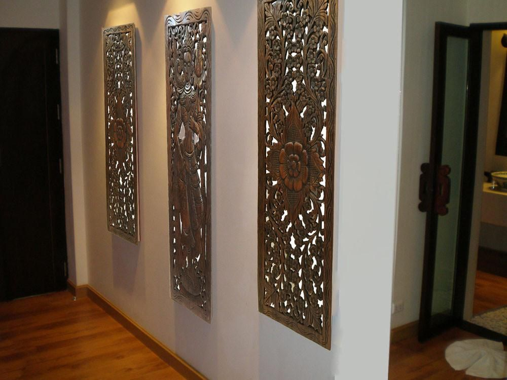 Multi Panels Oriental Home Decor. Wood Carved Floral Wall Art. Bali ...