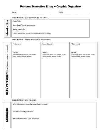personal narrative graphic organizer  personal narrative