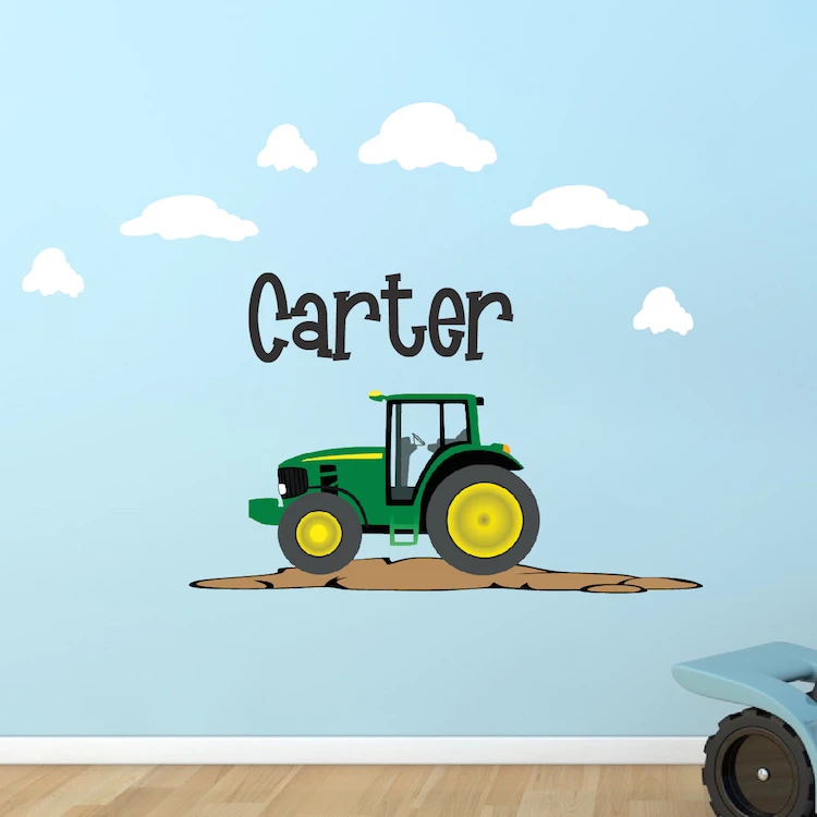 Wall Decal Tractor with Custom Name
