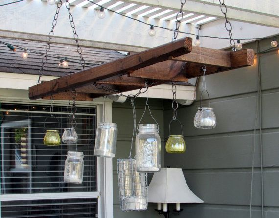 Rustic Hanging Ladder Mason Jar Patio Light Fixture