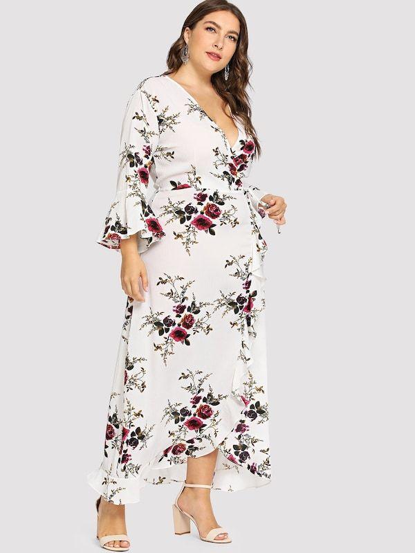d3044d6f Plus Ruffle Detail Wrap Knot Floral Dress Neckline: V neck Sleeve Length:  Half Sleeve
