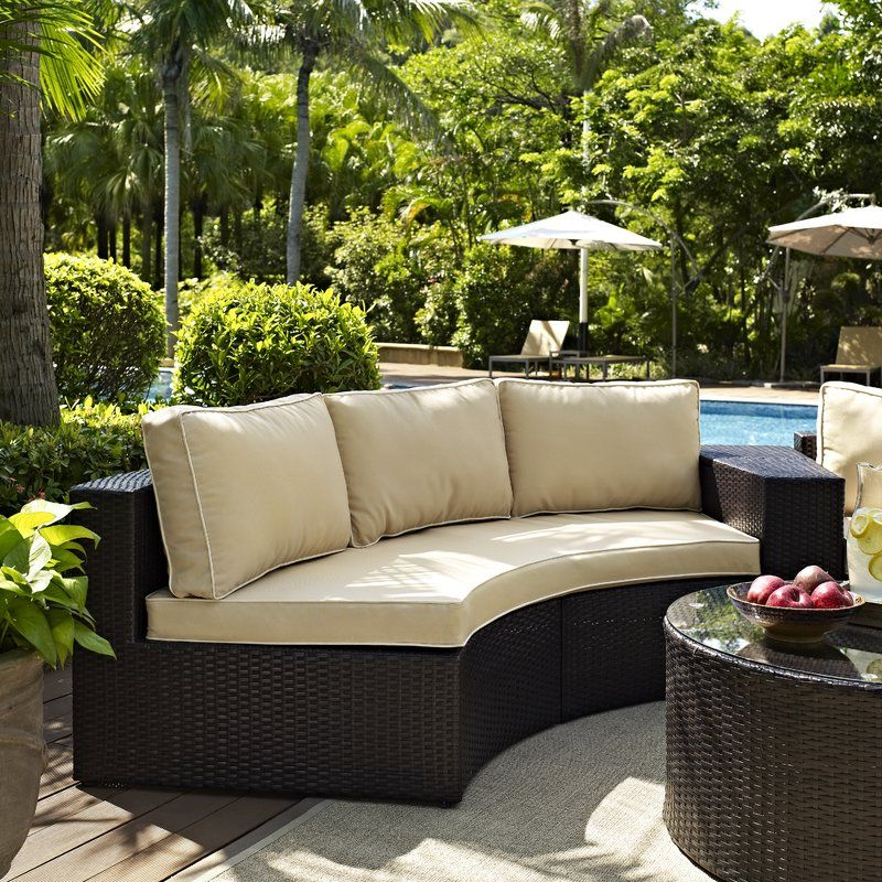 Michal Sofa With Cushions Outdoor Wicker Seating Circular Patio Round Sectional