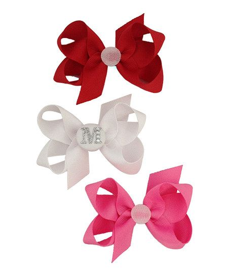 Red, White & Hot Pink Initial Bow Clip Set