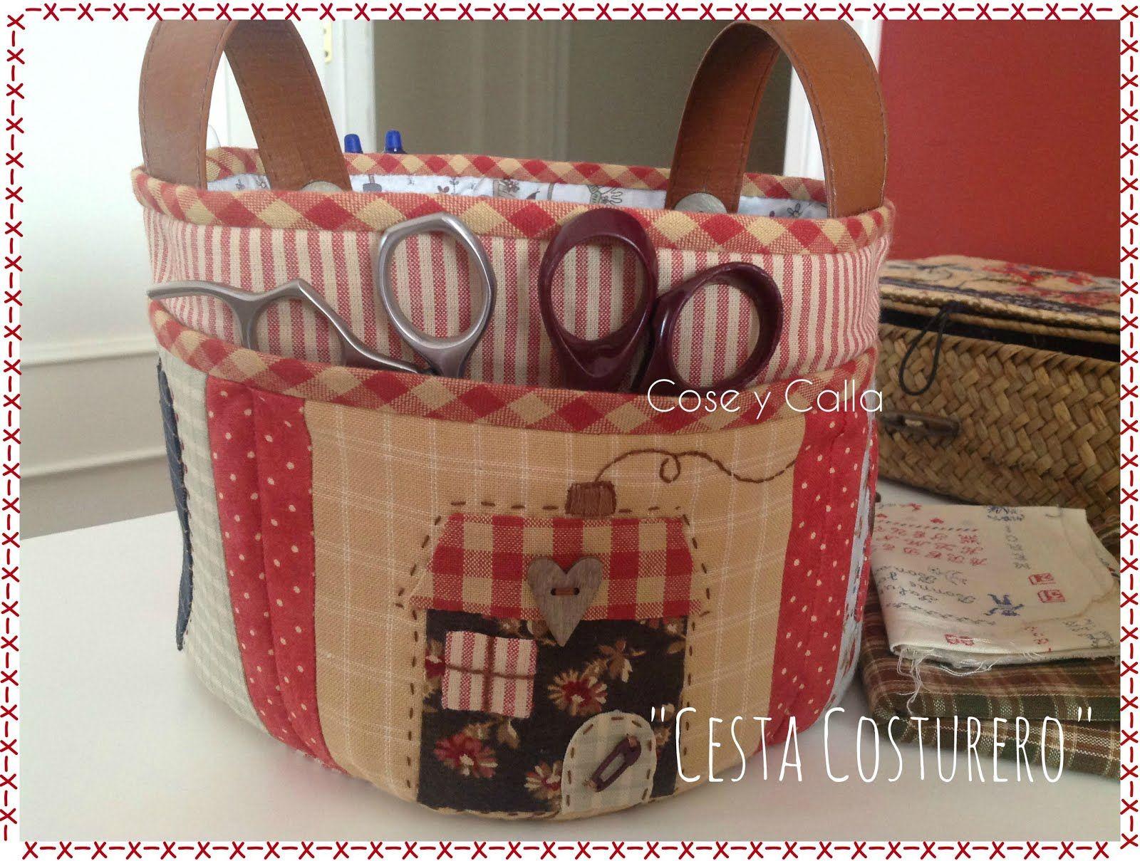 Cesta costurero costura pinterest cestas costura y - Manualidades patchwork bolsos ...