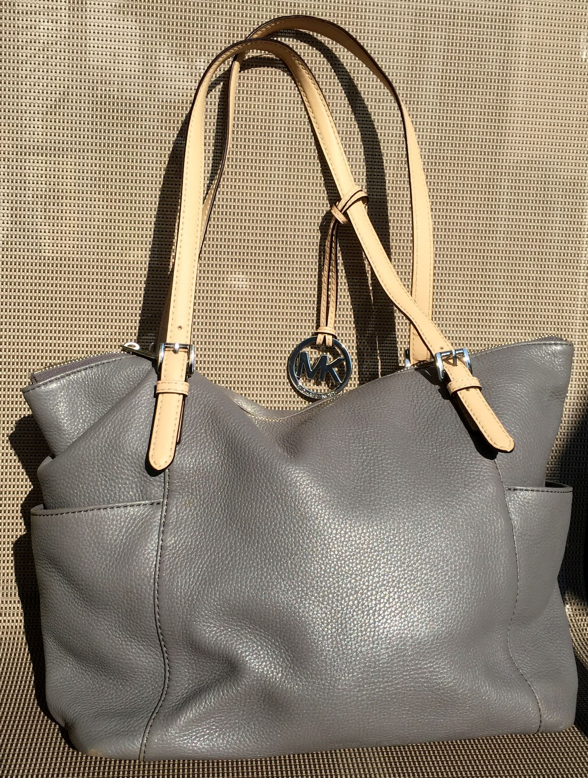Michael Kors Medium Gray Grey Soft Leather Tote Shoulder