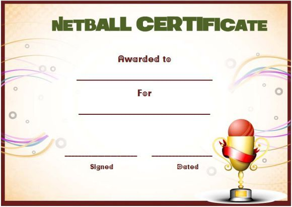 netball award certificate template netball certificates