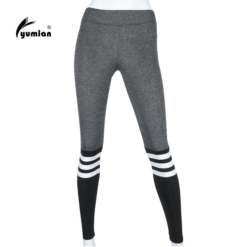 Yumlan Taille Haute Rayé Étiré Pantalons Sport Gym Vêtements Spandex  Collants Running Femmes Sport Leggings Remise En Forme Yoga Pantalon 84fe2d1cfa6
