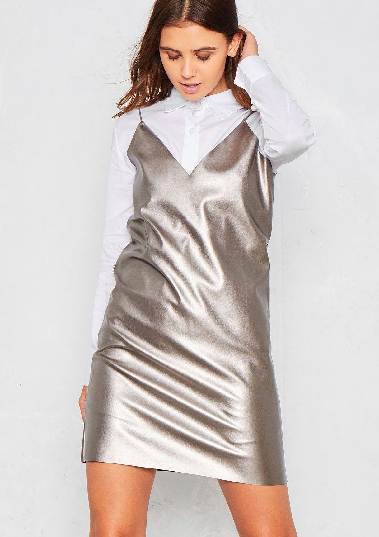 Kaira Silver Faux Leather Slip Dress