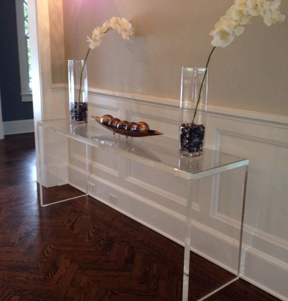 1 5 Thick Lucite Console Table Desk Stunning Table With 100 Crystal Celar Edges Sharp Corners And Full Entryway Console Table Console Table Lucite Table