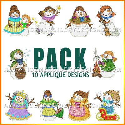 Amazing Embroidery Designs Snowwoman Pack Machine Embroidery And