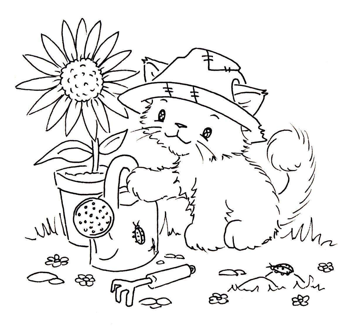 Garden Kitten And Flower Hamster