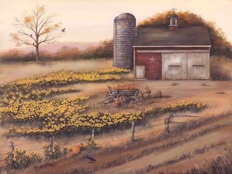 Barn & Sunflowers I