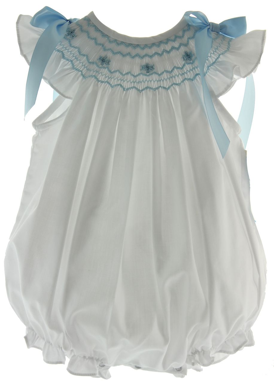 caf2b91f687 Baby Girls White Smocked Bubble Outfit with Blue Smocking - Infant girls  white dressy summer bubble outfit smocked in blue with satin ribbon bows on  the ...