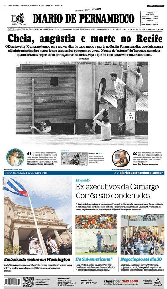 Diario de Pernambuco's frontpage.