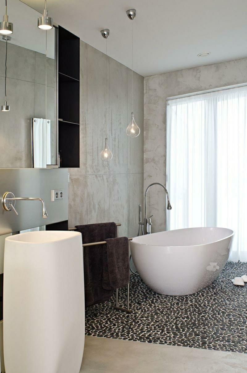 Elegantes badezimmerdesign betonwand bringt industriellen schick im interieur  stilvolle