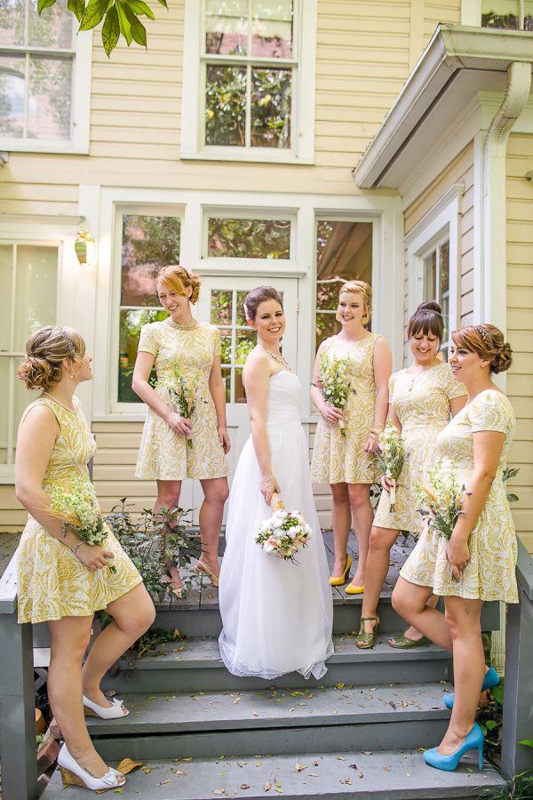 Short Vintage Inspired Fl Bridesmaid Dresses Orlando Florida Weddings Photo By Claudette Montero From Alucinarte