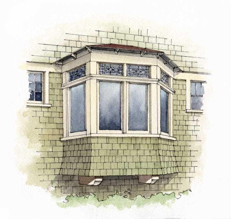 Exterior Of Bay Window Illustration