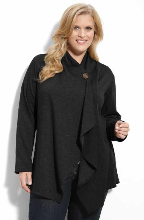 Bobeau One-Button Fleece Cardigan (Plus Size) | plus size fashion ...