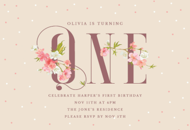 Online Birthday Invitations Templates Beauteous Floral One Printable Invitation Templatecustomize Add Text And .