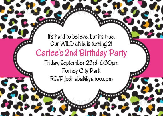 Leopard Print Invitation Leopard Print Birthday Party Invitations On