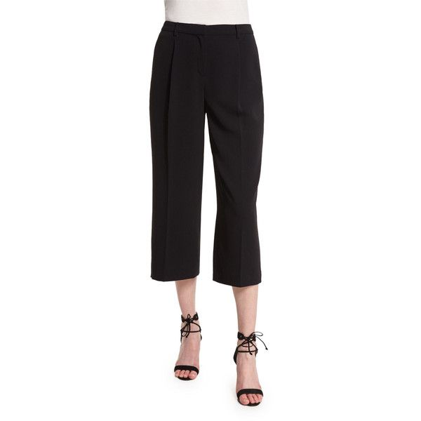 St. John Collection Classic Cady Gaucho Pants (1 920 SEK) ❤ liked on Polyvore featuring pants, capris, caviar, cropped trousers, cropped capri pants, wide leg cropped pants, wide leg cropped trousers and wide-leg trousers