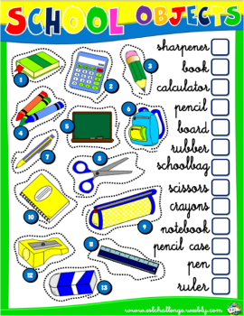 SCHOOL OBJECTS WORKSHEET # | 1 - ENGLISH WITH GAMES 1 | Pinterest ...
