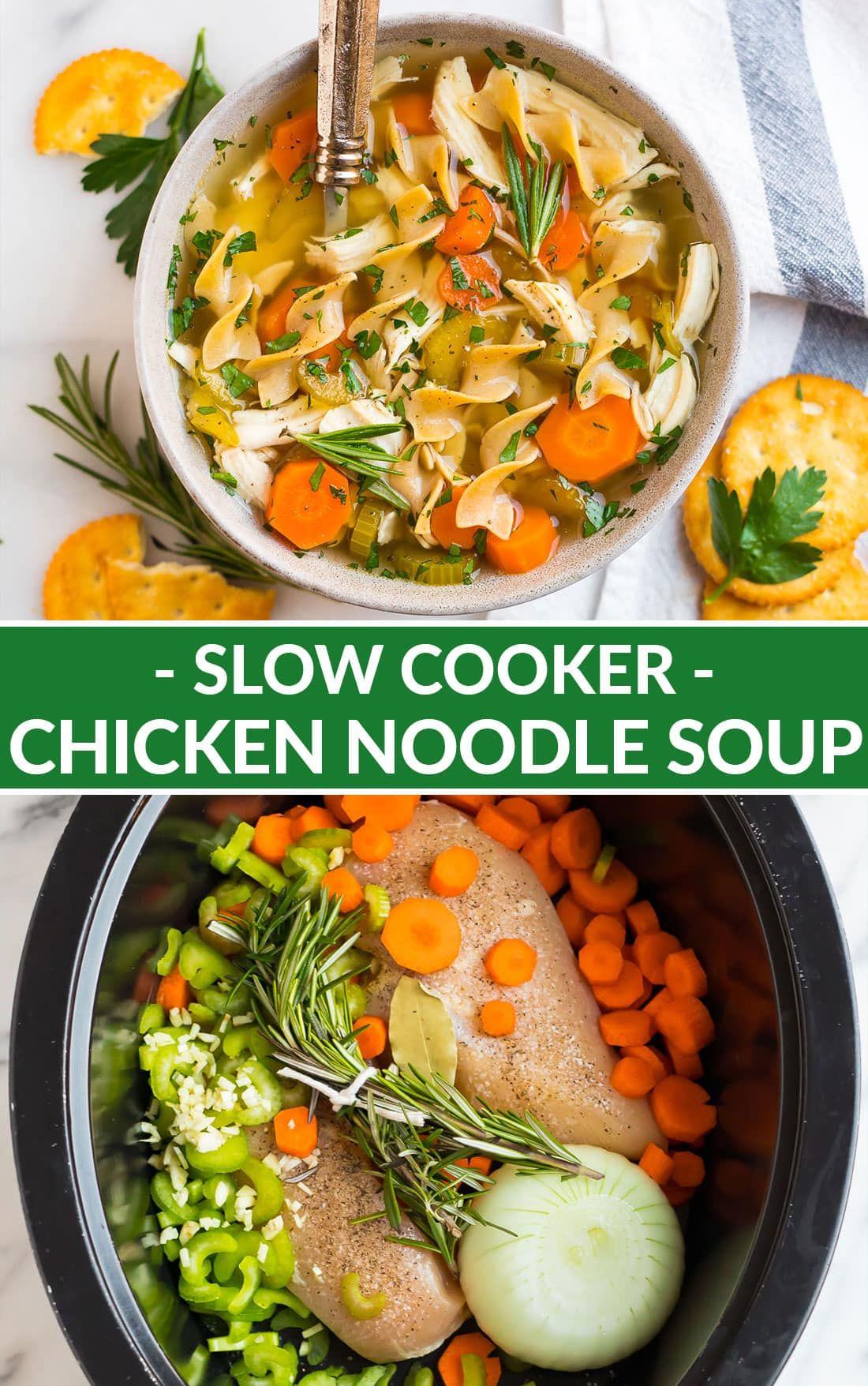 An Easy Healthy Recipe For The Best Crock Pot Chicken Noodle Soup From Scra Slow Cooker Chicken Noodle Soup Chicken Noodle Soup Crock Pot Vegetarian Crockpot