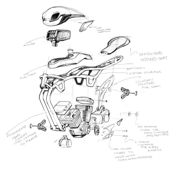 exploded view technical sketch that looks lime industrial