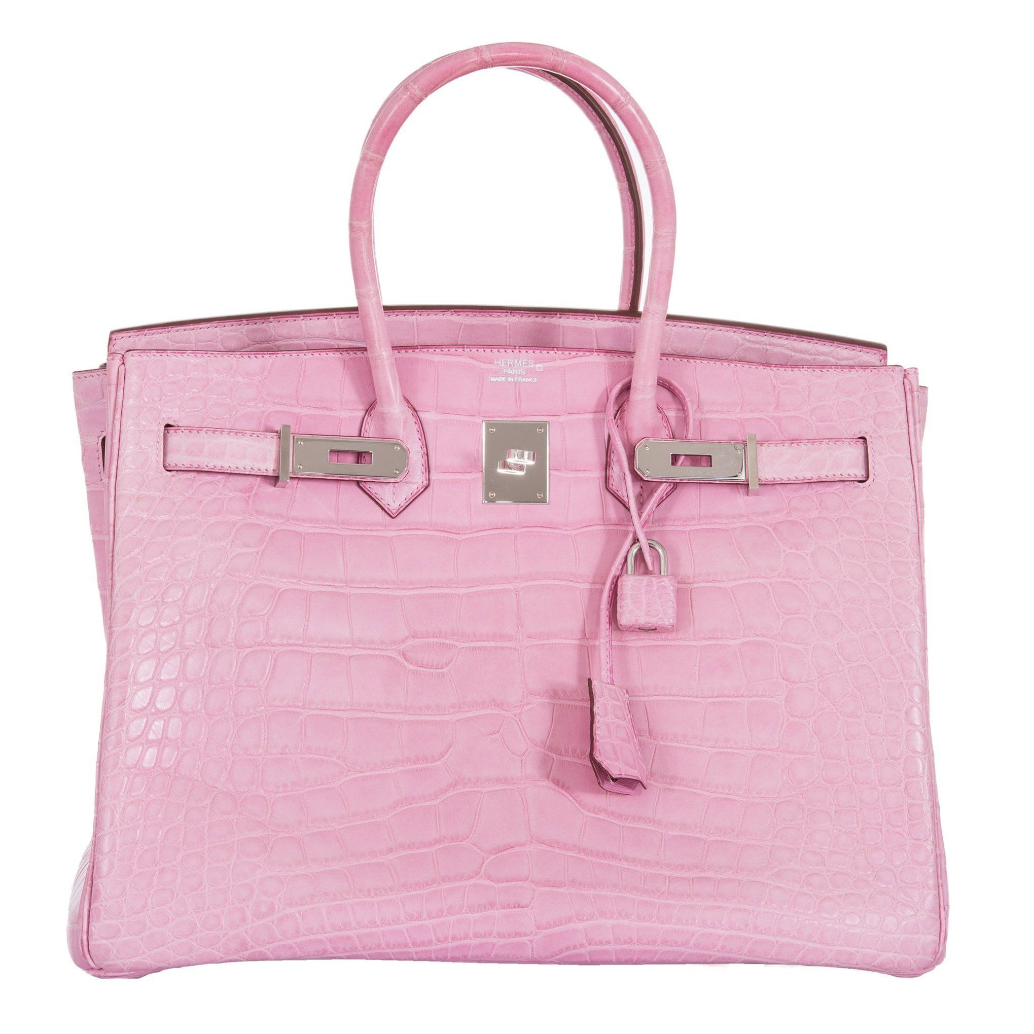 b8a76593faea Hermes Birkin 35 Bubblegum 5P Pink Alligator Palladium Hardware •  Investment Bag-JaneFinds