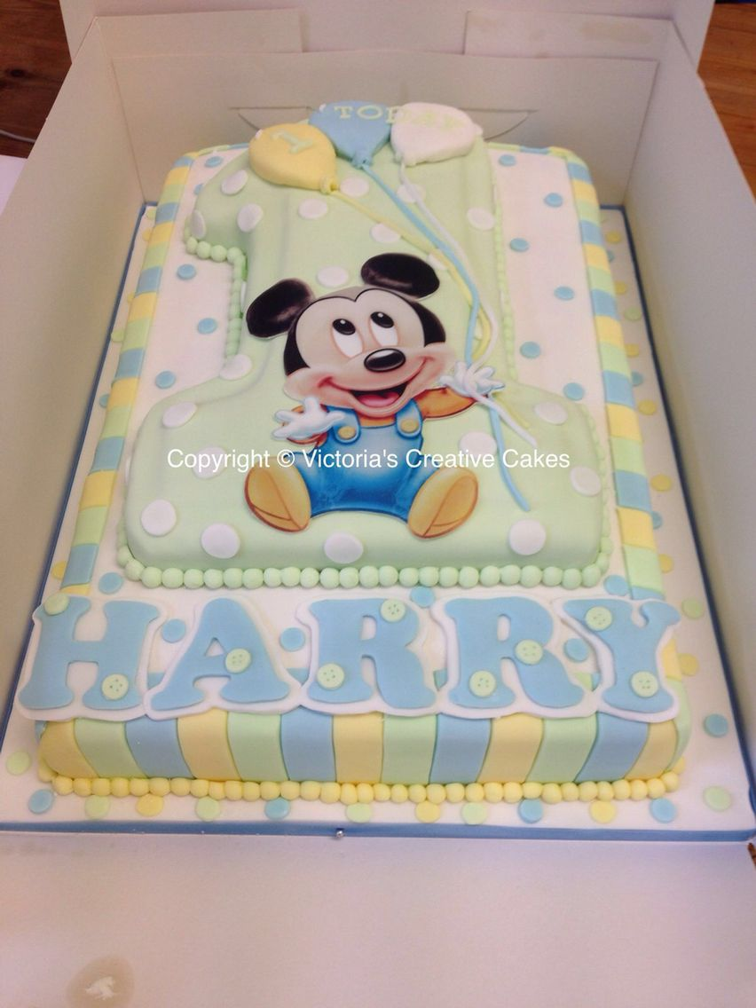 Astonishing Baby Mickey Mouse Number 1 Large Birthday Cake With Images Funny Birthday Cards Online Alyptdamsfinfo