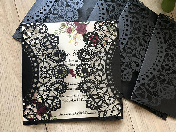 50pcs Black Laser Cut Wedding Invitation Wedding Invitation Lace