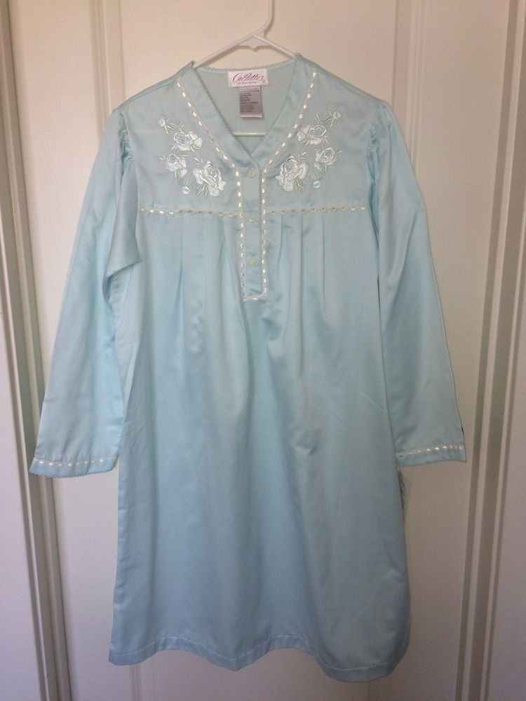 223fd5652a097 COLETTE/MS ELAINE Solid Aqua/Light/Mint Green Brushed Satin Nightgown Small  NWT #MissElaine #Gowns #Everyday