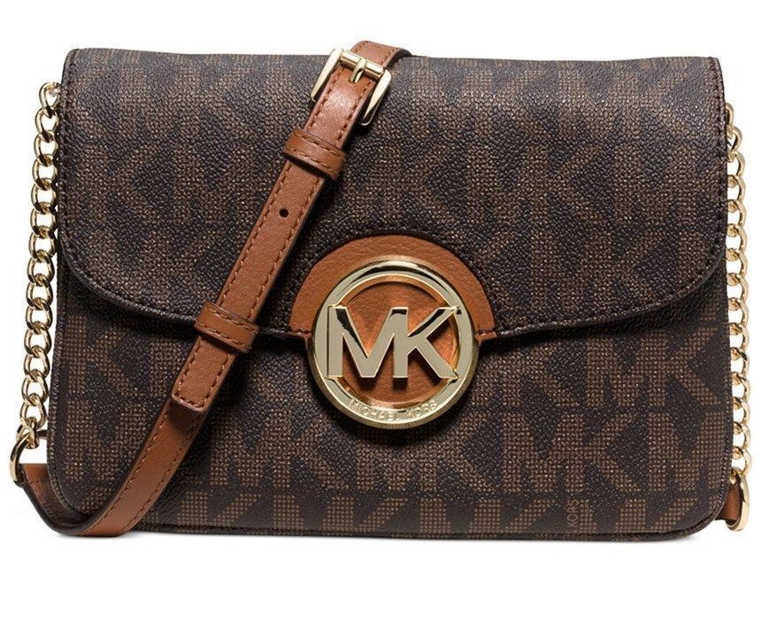 e2310caee1a0cb NWT MICHAEL KORS FULTON FLAP GUSSET MK SIGNATURE LOGO CROSSBODY BAG BROWN  $198 #MichaelKors #MessengerCrossBody