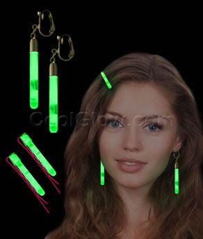 Glow Hair Pins and Earrings Set Green... this would be fun for the munchkins!