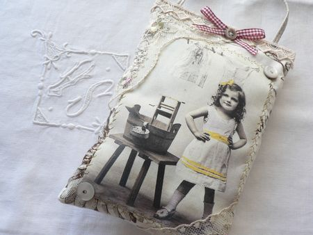 French sachet. Purchase printable fabric and pick a picture of a loved one or family member or pet and print onto fabric.