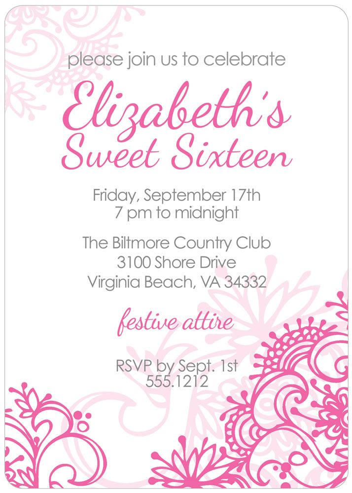 Fresh Flowers Sweet 16 Invitation Fresh flowers, Sweet 16 and - fresh birthday invitation from a kid