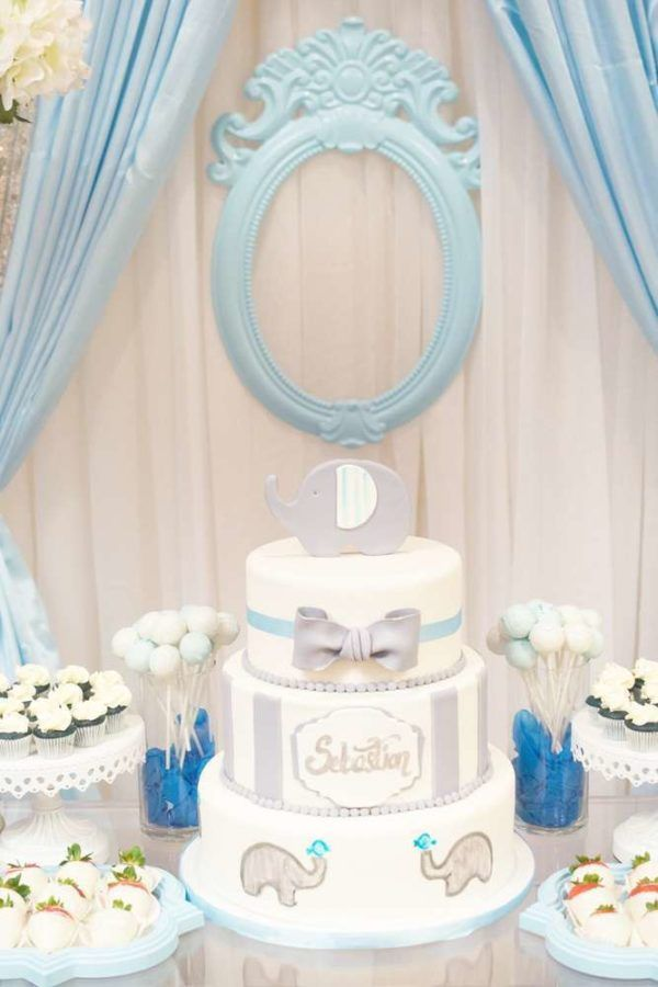 Blue And White Elephant Themed Baby Shower Backdrop