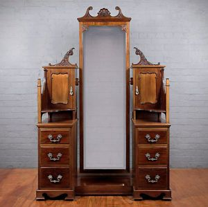Antique Edwardian Mahogany Cheval Mirror Drawers Dressing Table C