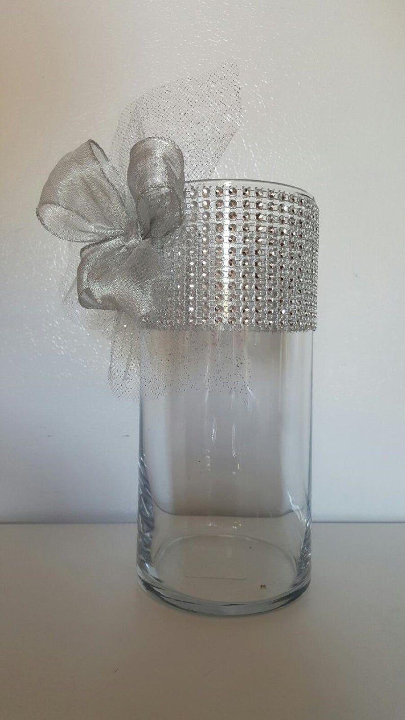 Wedding Reception Centerpieces Rhinestone Organza and Ribbon Bridal Vase Set Wedding Reception Centerpiece Decor – Set of 12! Beautiful