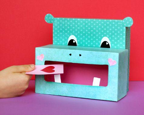 hippo valentine box school stuff to make with for my nana