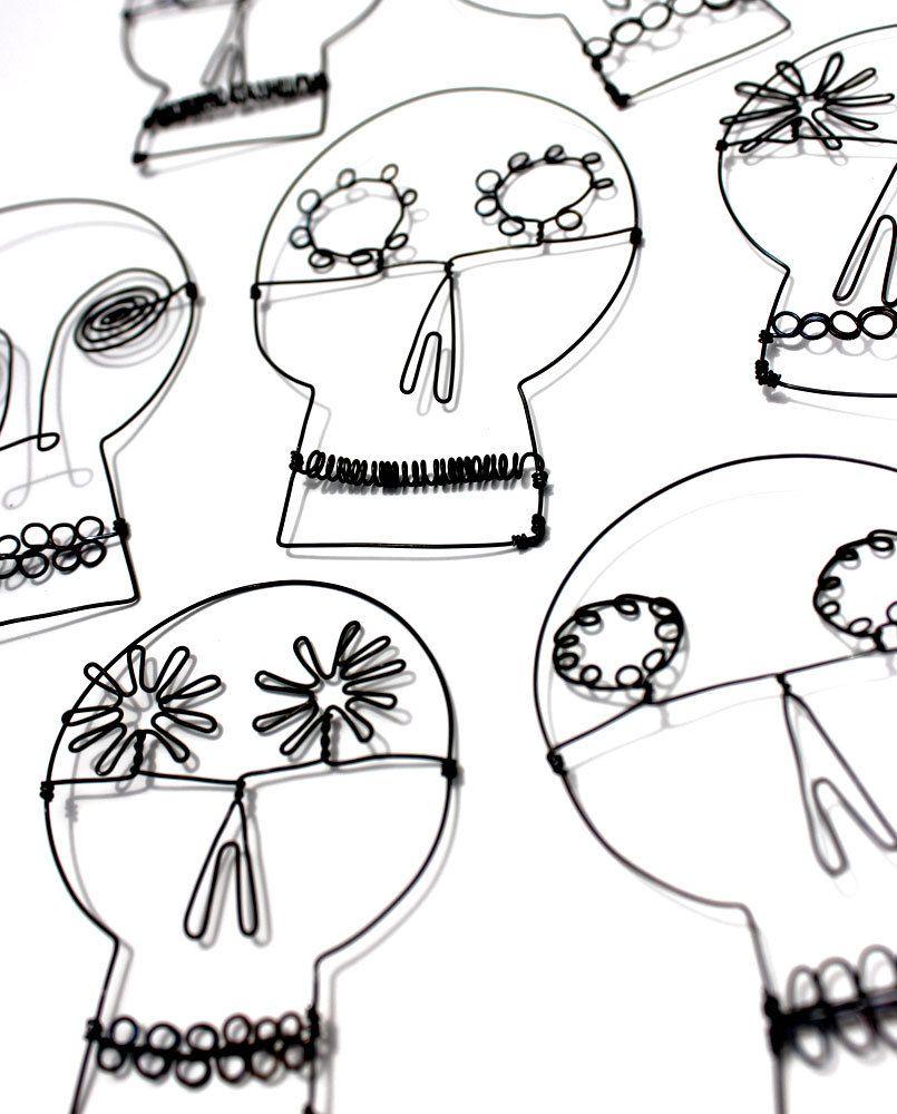 3 Wire Sugar Skulls, Day of the Dead wire art, Halloween decor, wire ...