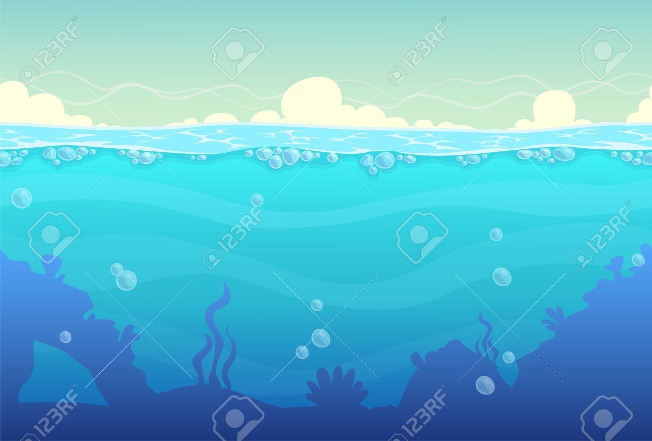 Underwater Cartoon Seamless Landscape Sea Vector Background Aff Seamless Cartoon Underwater Landscape Background