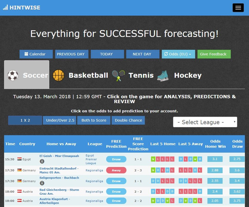 Hintwise Com Soccer Predictions Tips Tipsters Soccer Predictions Football Predictions Predictions