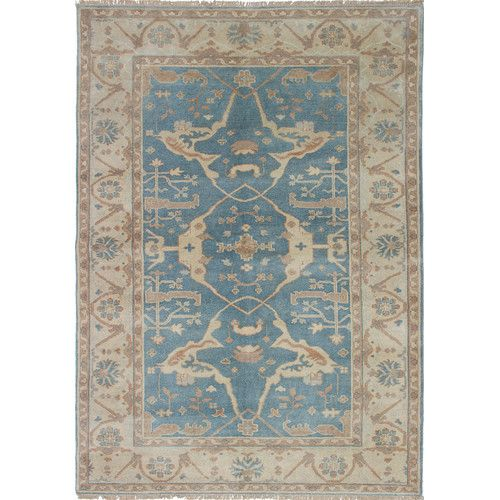 Found It At Wayfair Royal Ushak Hand Knotted Ivory Slate Blue Area Rug 599 Rugs Blue Area Rugs Area Rugs